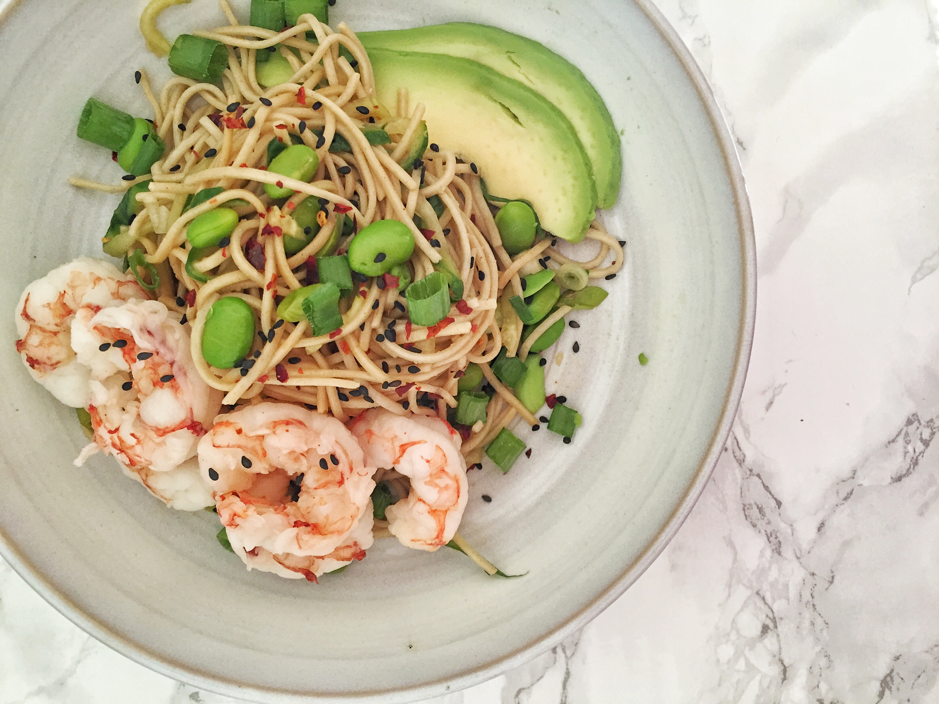 Cold Sesame Soba Noodle and Cucumber Salad with Poached Shrimp